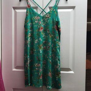 Kelly Green Floral Summer Dress